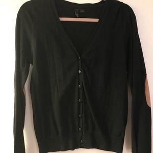 Black Patch Suede Elbows Button Up Cardigan